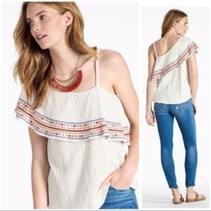 NEW Lucky Brand Embroidered One Shoulder Top